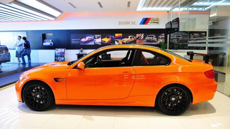 Static display of BMW M3 GTS sports coupe at Munich Automobiles BMW Service Centre Open House on May 21, 2011 in Singapore