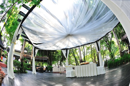 venue: Specially decorated pavilion for wedding ceremony Stock Photo