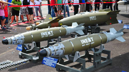Inert Laser Joint Direct Attack Munition (JDAM) bombs on display at Republic of Singapore Air Force (RSAF) Open House 2011 on May 28, 2011 in Singapore