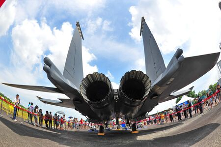 Republic of Singapore Air Force (RSAF) F-15SG Strike Eagle on display at RSAF Open House 2011 on May 28, 2011 in Singapore Stock Photo - 13266440