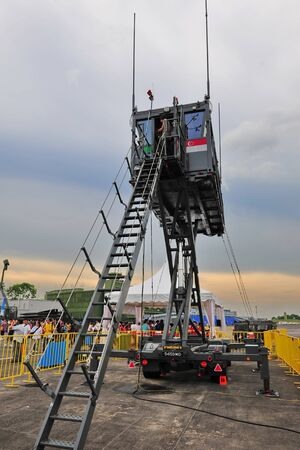Republic of Singapore Air Force (RSAF) mobile control tower at RSAF Open House 2011 on May 28, 2011 in Singapore