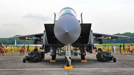Republic of Singapore Air Force (RSAF) F-15SG Strike Eagle on display at RSAF Open House 2011 on May 28, 2011 in Singapore Stock Photo - 13266385