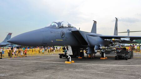 Republic of Singapore Air Force (RSAF) F-15SG Strike Eagle static display at RSAF Open House 2011 on May 28, 2011 in Singapore Stock Photo - 13266402