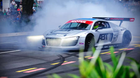Audi R8 LMS performing stunts during Red Bull Speed Street Singapore on April 24, 2011 in Singapore