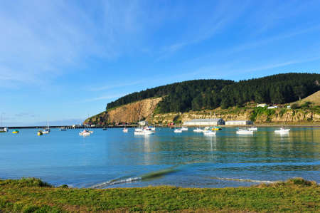oamaru: Peaceful harbor in Oamaru, New Zealand Stock Photo