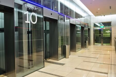 Lift lobby of a modern shopping mall