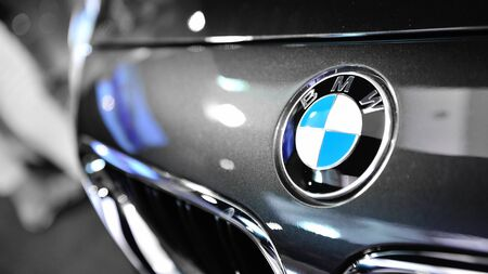 BMW badge on a BMW M6 Convertible at its Preview at Singapore Yacht Show April 28, 2012 in Singapore