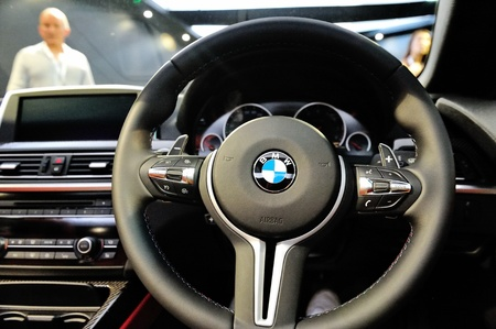 Multi function steering wheel of BMW M6 Convertible at its Preview at Singapore Yacht Show April 28, 2012 in Singapore