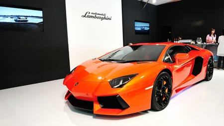 Lamborghini Aventador LP 700-4 on display at Singapore Yacht Show April 28, 2012 in Singapore
