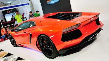 Rear view of Lamborghini Aventador LP 700-4 with exhaust and engine bay at Singapore Yacht Show April 28, 2012 in Singapore