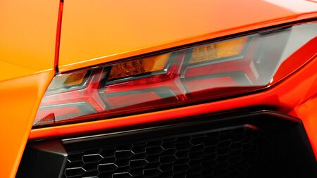Rear LED lights of a Lamborghini Aventador LP 700-4 at Singapore Yacht Show April 28, 2012 in Singapore