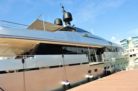 Sanlorenzo super luxury yacht on display at Singapore Yacht Show April 28, 2012 in Singapore Stock Photo - 13574714