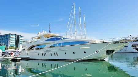 grande: Azimut Grande super luxury yacht on display at Singapore Yacht Show April 28, 2012 in Singapore