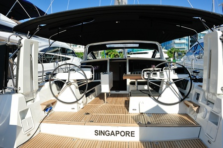 Interior of a luxury yacht at Singapore Yacht Show April 28, 2012 in Singapore Stock Photo - 13574727