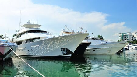 Super luxury yachts on display at Singapore Yacht Show April 28, 2012 in Singapore Stock Photo - 13574723