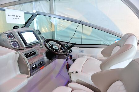 chaparral: Cockpit of a Chaparral 310 Signature Cruiser at Singapore Yacht Show April 28, 2012 in Singapore Editorial