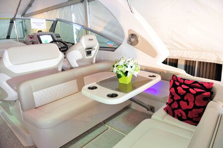 chaparral: On the deck of Chaparral 310 Signature Cruiser at Singapore Yacht Show April 28, 2012 in Singapore Editorial
