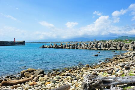 Fu Gang harbor in Taiwan with concrete bollards to protect the bay Stock Photo - 13533338