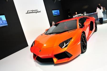 lp: Lamborghini Aventador LP 700-4 on display at Singapore Yacht Show April 28, 2012 in Singapore  Editorial