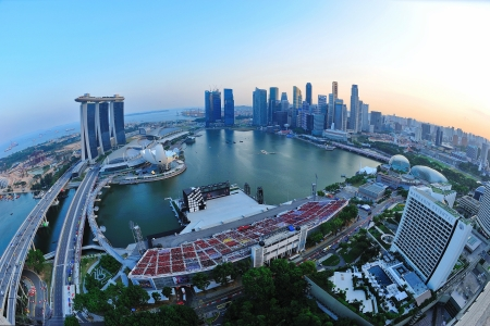 Aerial view of Singapore Marina Bay area with its financial and tourism district, including its latest Marina Bay Sands Integrated Resort on July 09, 2011 in Singapore Editorial