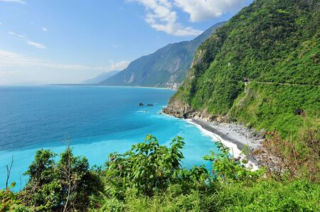 Cliffs and beautiful blue sea in the east coast of Taiwan photo