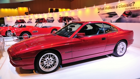 Classic BMW 8 series coupe at BMW World Singapore 2010 at Marina Bay Sands Expo November 14, 2010 in Singapore