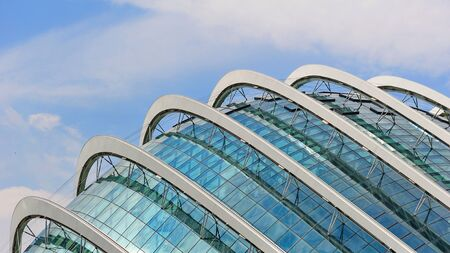 Exterior and glass roof of Flower Dome at newly opened Gardens by the Bay in Singapore
