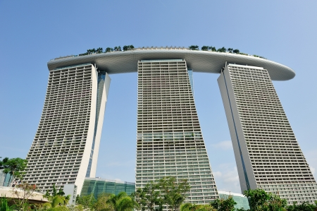 marina bay: Exterior architecture of Marina Bay Sands Integrated Resort in Singapore