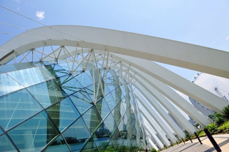 Exterior architecture of Flower Dome at Gardens by the Bay in Singapore Editorial