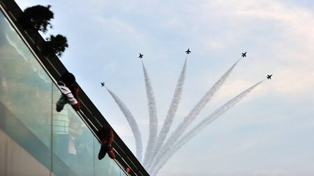f 16: Republic of Singapore Air Force F-16 formation flypast during National Day Parade 2012 Preview on August 04, 2012 in Singapore Editorial
