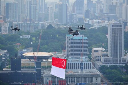 Flypast of Singapore national flag during National Day Parade 2012 Preview on 4 Aug 2012