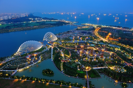 Aerial view of the newly opened tourist attraction Gardens by the Bay on 4 Aug 2012 in Singapore Editorial
