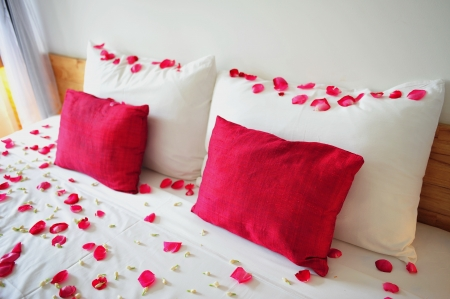 Romantic room setting with rose petals filled bed and pillows