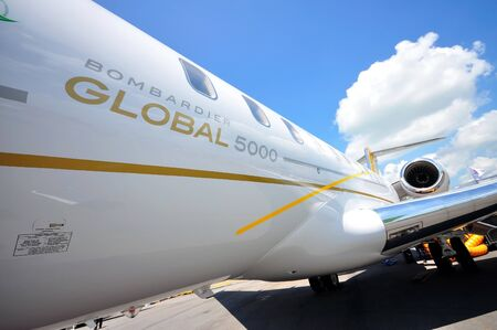 bombardier: Exterior of Bombardier Global 5000 business jet at Singapore Airshow February 03, 2010 in Singapore