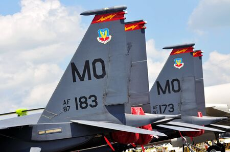 f 15: Real fins of USAF F-15E Strike Eagle fighter jets at Singapore Airshow 2010 February 03, 2010 in Singapore