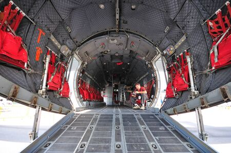 loading bay: Rear loading bay of Alenia Aermacchi C-27J Spartan military plane on display at Singapore Airshow February 03, 2010 in Singapore