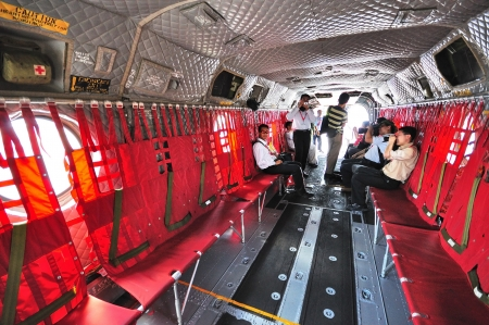 Interior of RSAF Boeing CH-47 Chinook at Singapore Airshow February 03, 2010 in Singapore
