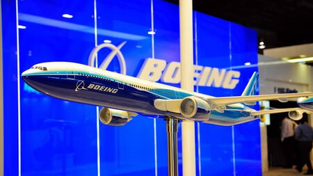 Boeing 777 model on display at Singapore Airshow February 03, 2010 in Singapore