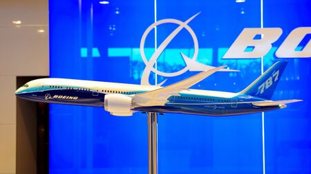 Boeing 787 Dreamliner model on display at Singapore Airshow February 03, 2010 in Singapore Stock Photo - 15103614