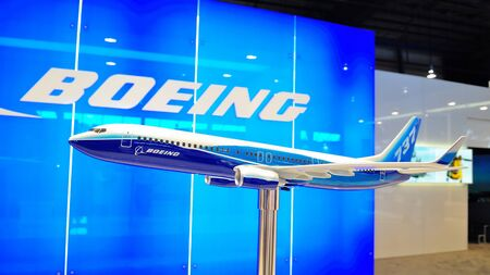 Model of Boeing 737-800 at Singapore Airshow February 03, 2010 in Singapore