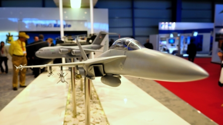 f18: Boeing F18 model on display at Singapore Airshow February 03, 2010 in Singapore Editorial