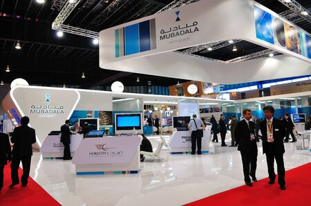 trade show: Mubadala booth at Singapore Airshow February 03, 2010 in Singapore Editorial