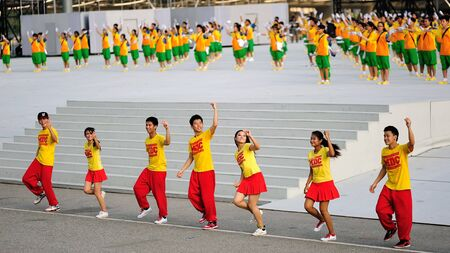 Dance performance by Music & Drama Centre during National Day Parade 2012 on August 09, 2012 in Singapore