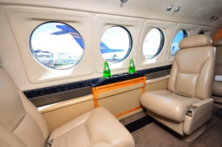 Interior of Hawker Beechcraft King Air B200GT aircraft at Singapore Airshow February 03, 2010 in Singapore