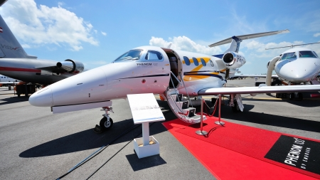Embraer Phenom 100 business jet on display at Singapore Airshow February 03, 2010 in Singapore