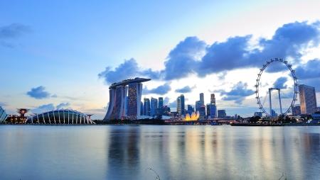jachthaven: Skyline van de stad van Marina Bay Singapore
