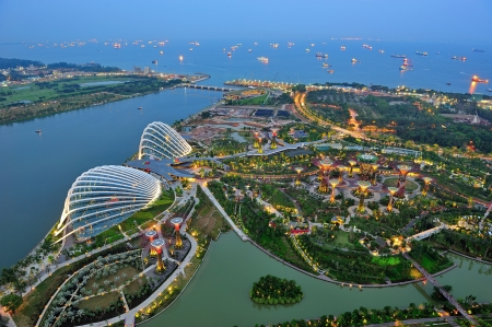 Aerial view of newly opened Gardens by the Bay, Singapore river and Marina Barrage in Singapore Editorial