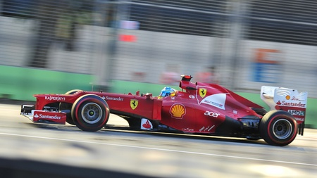 Fernando Alonso racing in his Ferrari car during 2012 Formula 1 Singtel Singapore Grand Prix on September 22, 2012 in Singapore Stock Photo - 15371048