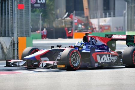 ericsson: Marcus Ericsson racing in his Isport International car during 2012 GP2 race at Singapore Marina Bay circuit on September 22, 2012 in Singapore