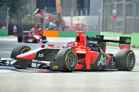 carlin: Max Chilton racing in his Carlin car during 2012 GP2 race at Singapore Marina Bay circuit on September 22, 2012 in Singapore Editorial